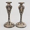 A pair of candlesticks, silver plated, empire style, gab stockholm ca 1902