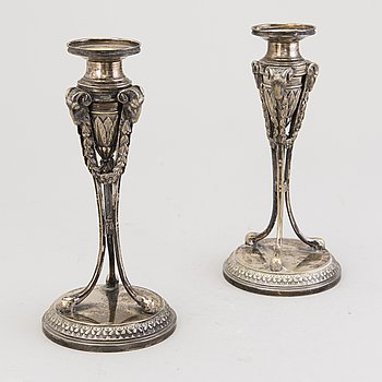 A PAIR OF CANDLESTICKS, silver plated, Empire Style, GAB Stockholm ca 1902.