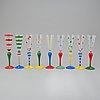 "Anne nilsson, champagneglas, 9 stycken, ""clown"", orrefors, monogramsignerade, formgivna 1992"