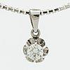 Diamond pendant, 18k whitegold w 1 brililant cut diamond 0,31 c engraved, chain approx 45 cm