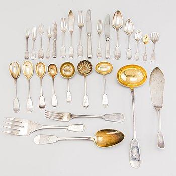 VIKTOR LINDMAN, A  178-piece set of silver cutlery, Helsinki, most part date marked 1916.