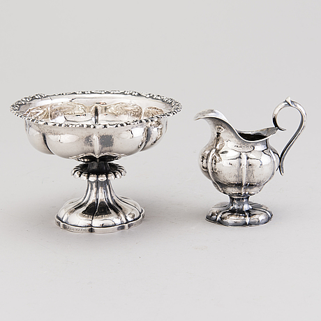 A silver sugar bowl and cream jug, mark of johan niclas chorin, kokkola and anders johan holming, hämeenlinna 1892