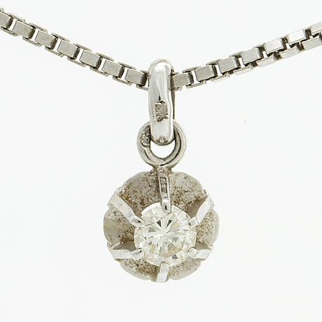 Diamond pendant w chain, 18k whitegold 1 brilliant cut diamond approx 0,20 ct