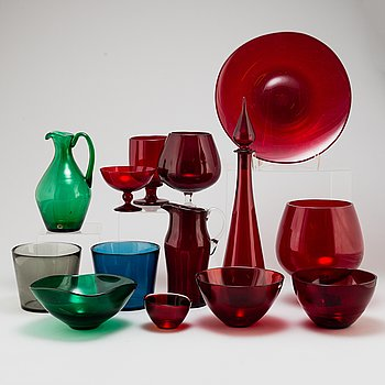14 glass objects, Reijmyre and Orrefors.