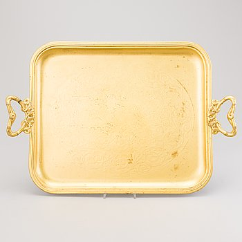 A POLISH TRAY, gilt silver plate, Fraget/Warszawie, late 19th century.