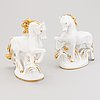 Two russian porcelain horse figurines, lomonosov, soviet 1960s 1970s