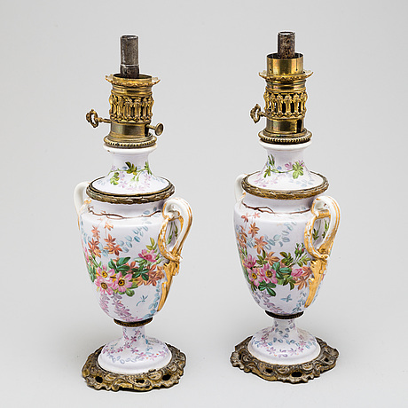 A pair of porcelain table lamps, northern europe, 19th century