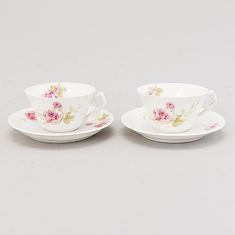 A set of ten 19th century russian porcelain coffee cups with saucers, kornilov brothers 1861   1884