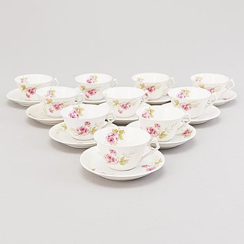 A set of ten 19th Century Russian porcelain coffee cups with saucers, Kornilov Brothers 1861 - 1884.