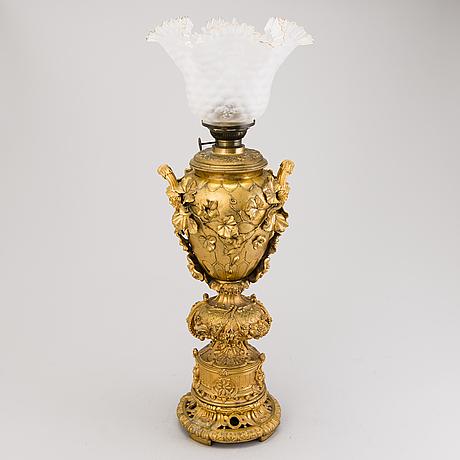 Oljelampa, förgylld brons, ryssland 1800 talets andra hälft