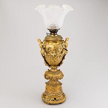 OLJELAMPA, förgylld brons, Ryssland 1800-talets andra hälft.