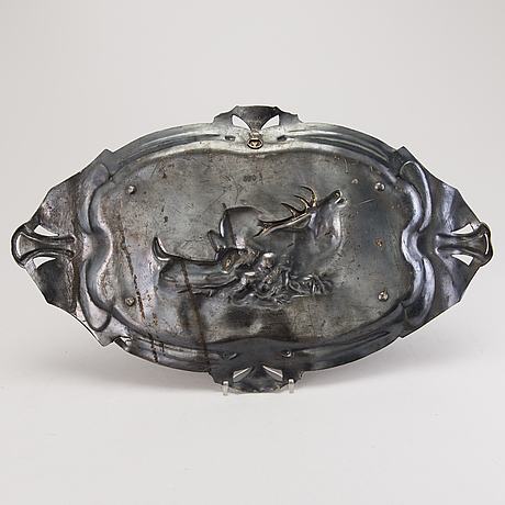 Tray, pewter, warszaw, engraved and dated in russian 1910