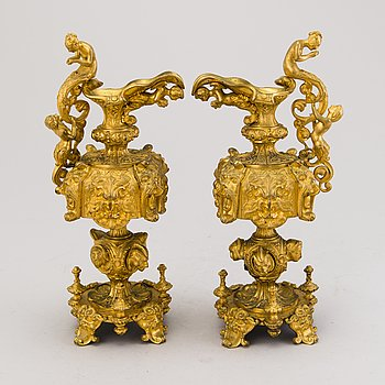 A pair of Russian 19th Century gilt bronze table decorations.