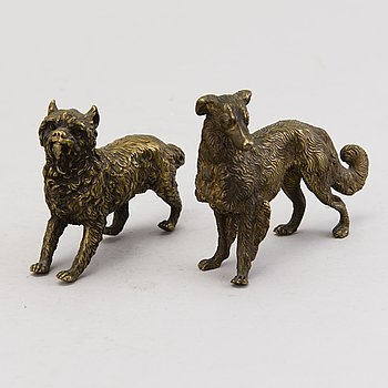 Two late 19th Century Russian bronze dog figurines.