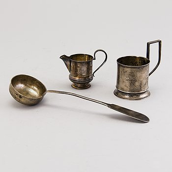 Three Russian Silver Objects, Moscow 1898-1926.