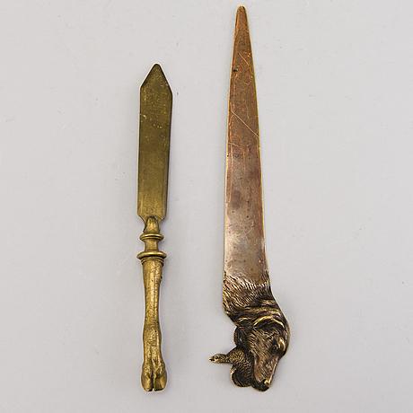 Brevknivar, 2 st, brons, möjligen ryssland