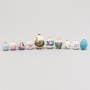 A set of ten Russian porcelain Easter eggs from the end of the 19th Century.
