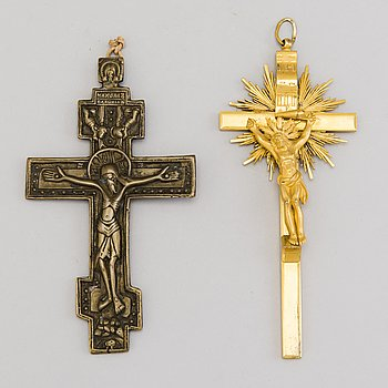 TWO CROSSES, bronze, Russia 18th and Central Europe 19th century.