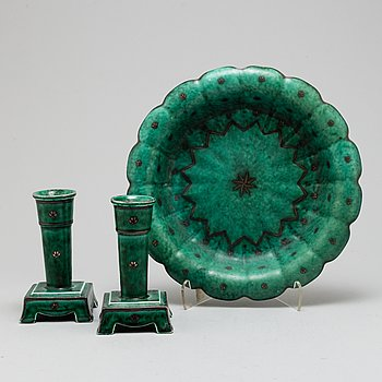 WILHELM KÅGE, a pair of 'Argenta' candle holders and a vase, from Gustavsberg.