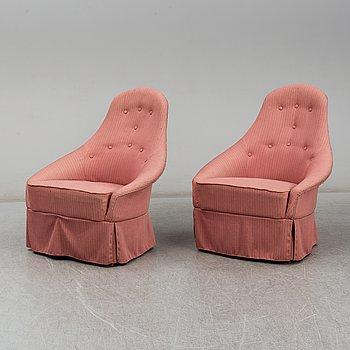 A pair of  'Lilla Eva' easy chairs by Kerstin Hörlin-Holmquist for Nordiska Kompaniet, mid 20th century.
