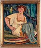 "GÖsta von hennigs, rer"" (en fogeltämjerska), signed g.v.h. and dated 1914, oil on canvas."