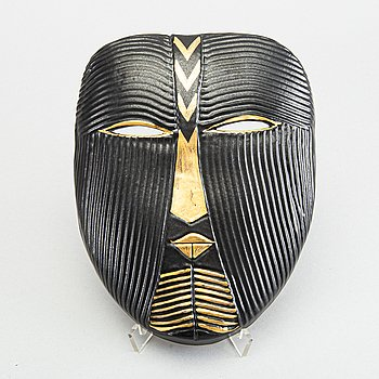 LISA LARSON, mask, stengods, K-studion Gustavsberg, signerad, 1900-talets andra hälft.
