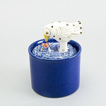 LISA LARSON, a ceramic glazed jar with lid signed.