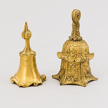 TWO TABLE BELLS, gilt bronze, second half of the 19th century.