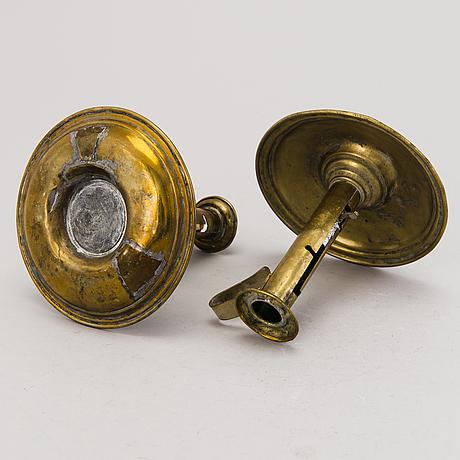 Ljusstakar, 5 st, mässing, 1800 tal
