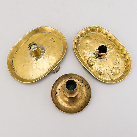 Candlesticks, 5 pieces, brass, 19th century