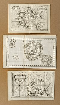 JAQUES NICOLAS BELLIN, 3 copper engraving, maps, 18th century.