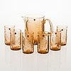 Oiva toikka, a 'flora' glass pitcher with a set of six 'flora' tumblers. model designed in 1966