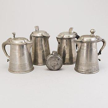 FOUR PEWTER TANKARDS, HIP FLASK, tin, 19th century, Sweden.