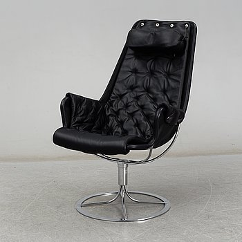 BRUNO MATHSSON, a black leather 'Jetson' easy chair from Dux, 21st Century.