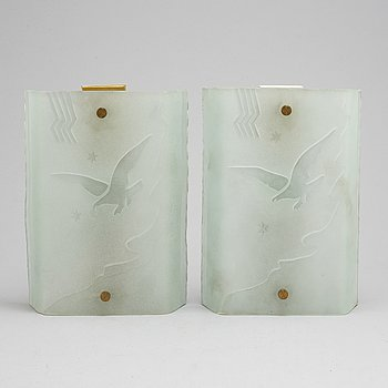 a pair of 1930's Art Déco wall lamps.