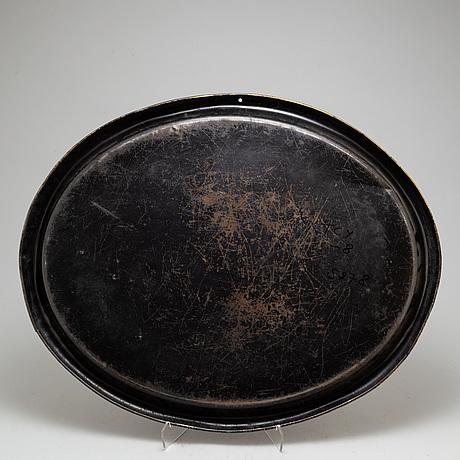 Bricka, bemålat plåt, 1800 tal