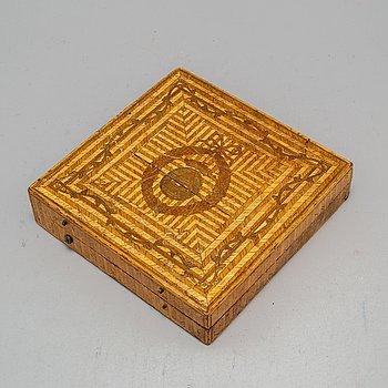 A late Gustavian straw box, circa 1900.