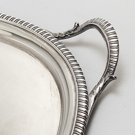 A silver tray from london, 1802