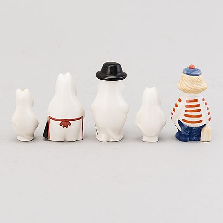 Tuulikki pietilÄ, a set of moomin mini figurines, arabia 1990 1997