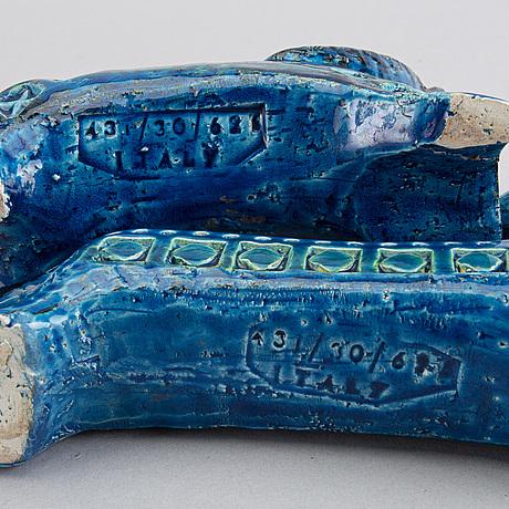 Figuriner, 3 st, lergods. raymor bitossi, aldo londi rimini blue