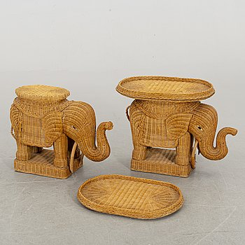 A pair of second half of the 20th century ratten tables.
