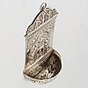 A late 19th century silver crucifix holy water font, german mark from after 1888