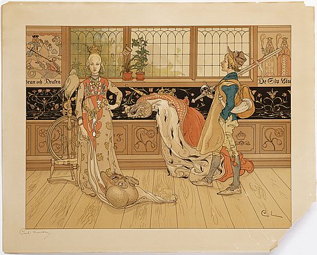 """Carl larsson, lithograph in colours, etat 2, hand signed edition of 25. executed in 1896. """"saint george"""""""