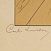 """Carl larsson, färglitografi, etat 2, 25 handsignerade exemplar. utförd 1896. """"sankt göran"""""""