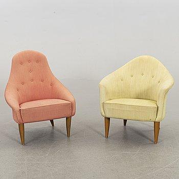 "KERSTIN HÖRLIN-HOLMQUIST, two lounge chairs, ""Lilla Adan"" and ""Lilla Eva"" for Triva-serien, Nordiska Kompaniet."