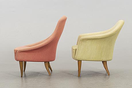"Kerstin hÖrlin holmquist, two lounge chairs, ""lilla adan"" and ""lilla eva"" for triva serien, nordiska kompaniet"
