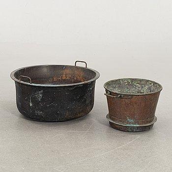 KOPPARKÄRL, två st, 1800/1900-tal.