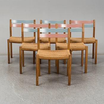 Jørgen H. Møller, six oak charis from J. L. Møller Models, Denmark, 1960's.