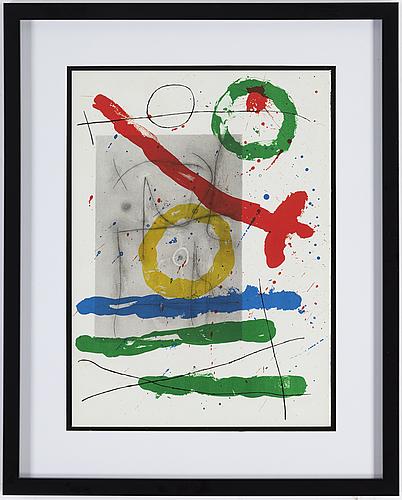 Joan mirÓ, color litograph, from derrière le miroir nr 151-152, 1965.