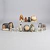 Lisa larson, 23 stoneware figurines, gustavsberg, sweden